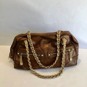 Vintage Gucci metallic leather chain handbag